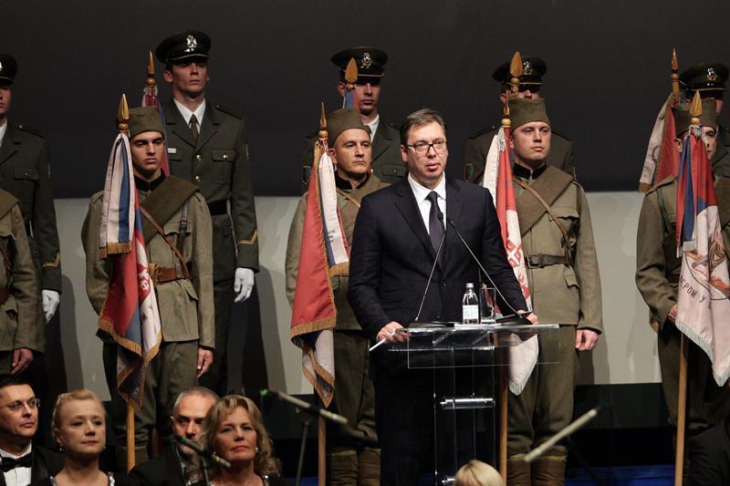 Predsednik Srbije Aleksandar Vucic na svecanoj akademiji povodom 100 godina od oslobodjenja Beograda u Prvom svetskom u ratu
