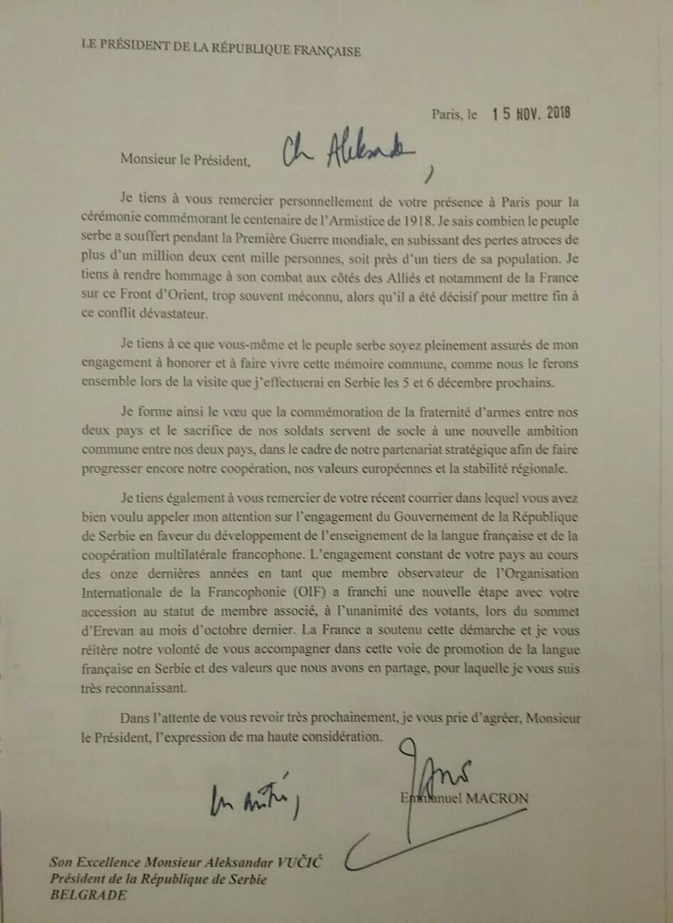 Pismo predsednika Francuske Emanuela Makrona upuceno Aleksandru Vucicu.