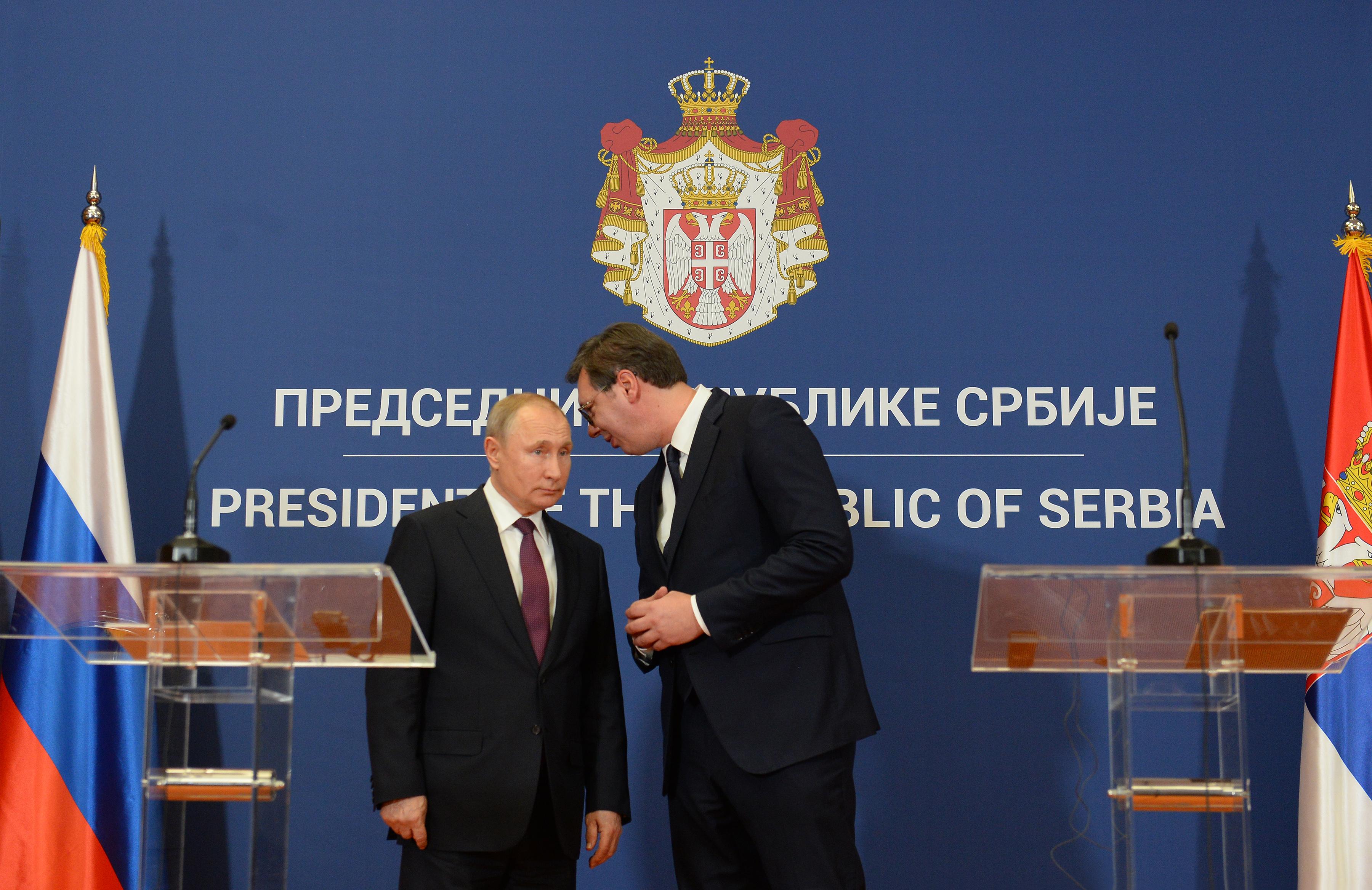 Predsednik Ruske Federacije Vladimir Putin na zajednickoj konferenciji za medije sa predsednikom Srbije Aleksandrom Vucicem