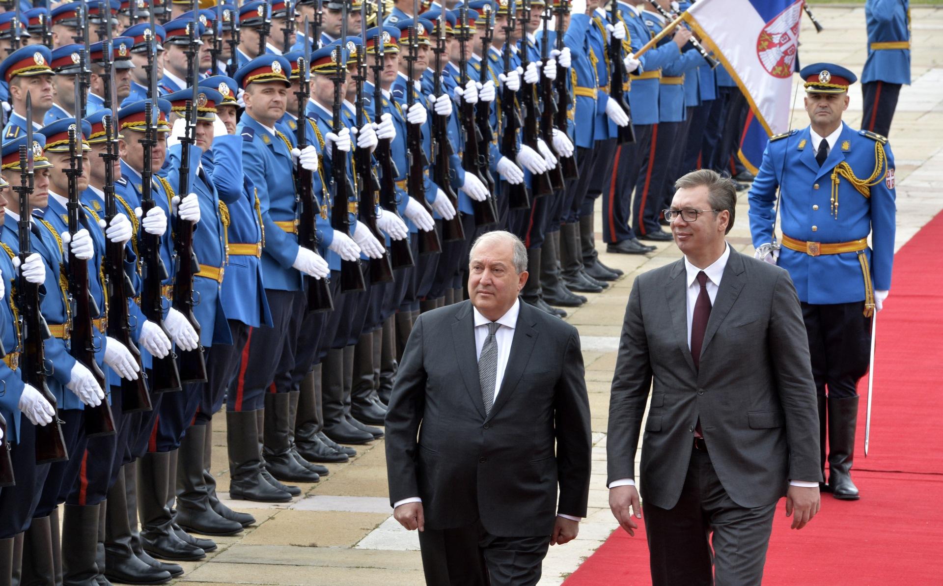 Predsednik Srbije Aleksandar Vucic sa predsednikom Jermenije Armenom Sarkisijanom