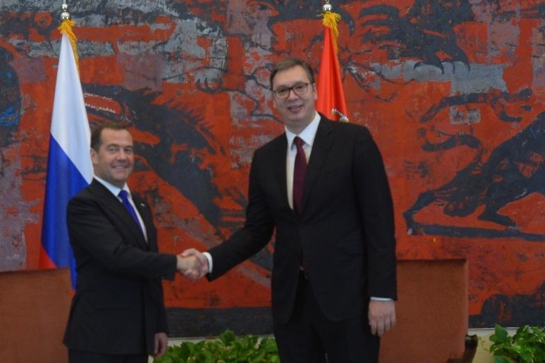 Predsednik Srbije Aleksandar Vucic i premijer Rusije Dmitrij Medveded u predsednistvu Srbije.