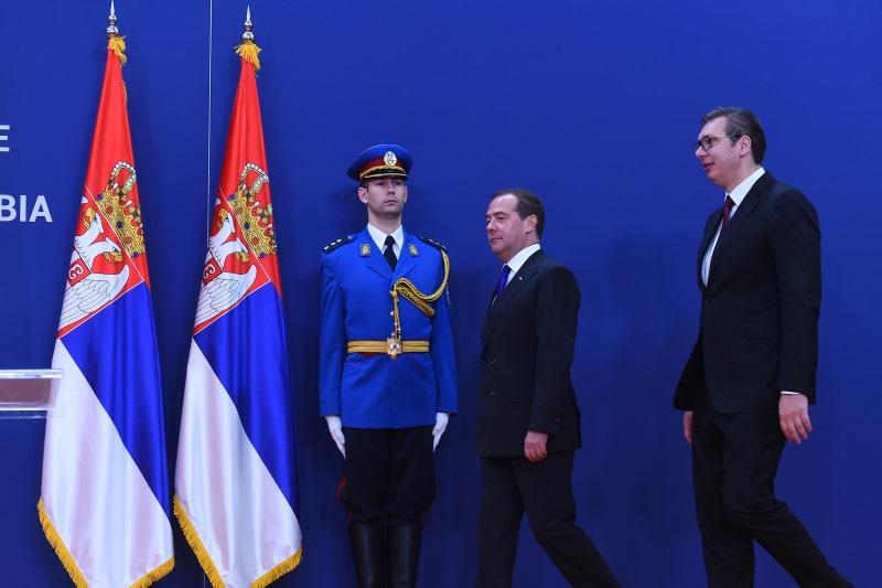 Vucic i Medvedev u Predsednistvu Srbije.