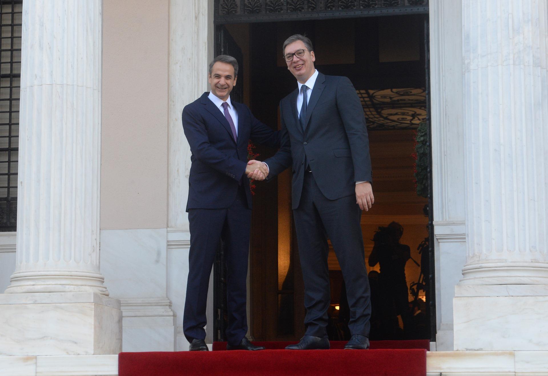 Predsednik Srbije Aleksandar Vucic sa grčkim premijerom Kirijakosom Micotakisom 4