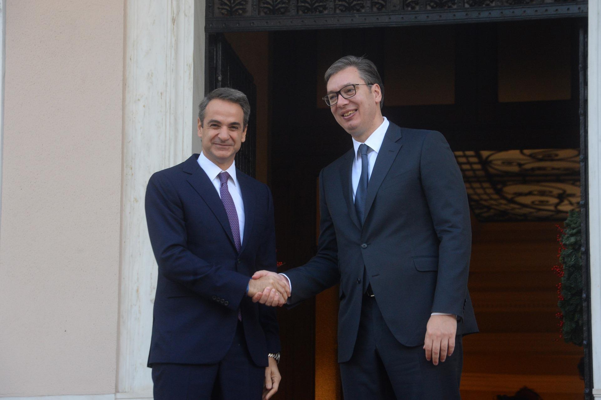 Predsednik Srbije Aleksandar Vucic sa grčkim premijerom Kirijakosom Micotakisom 5