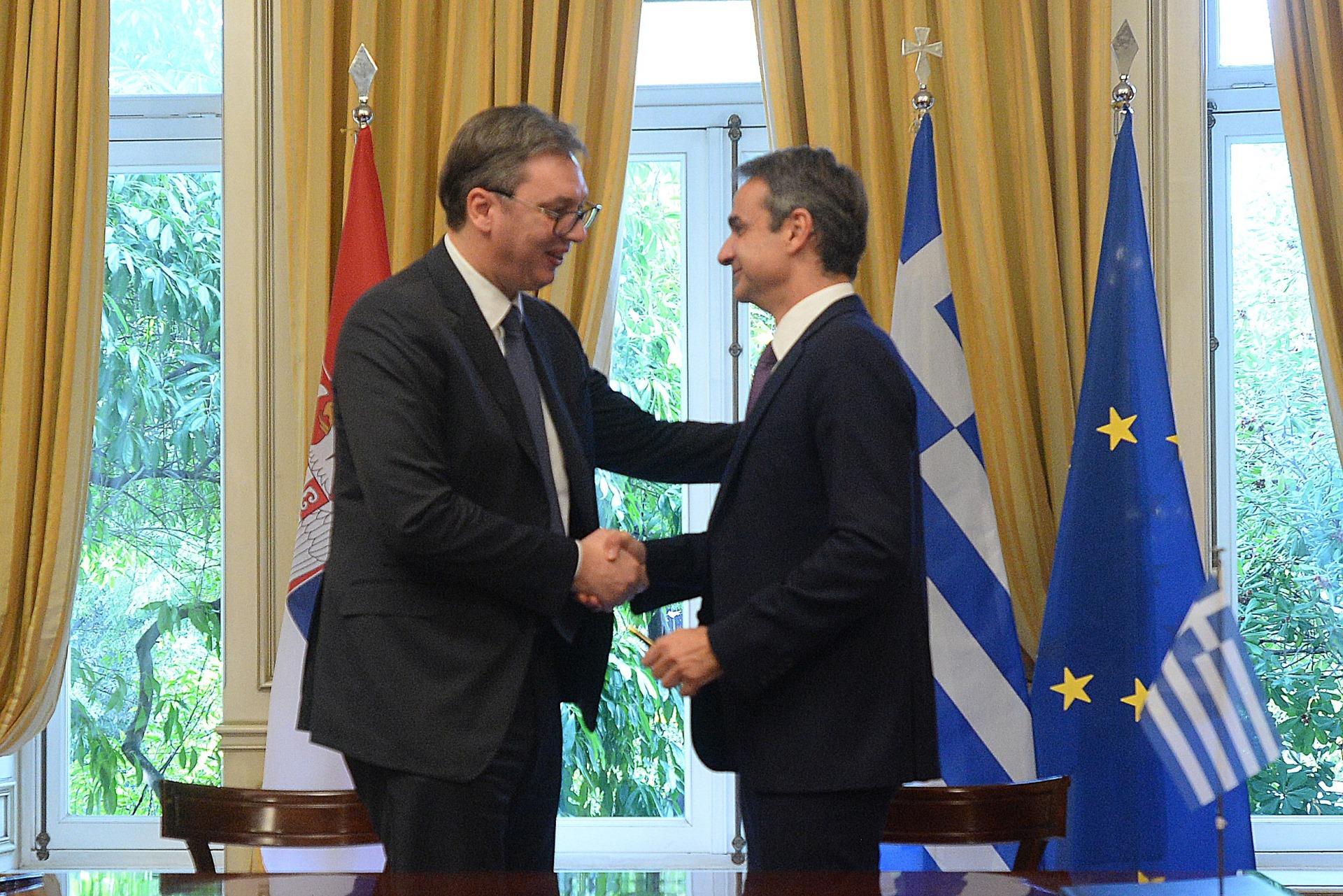 Predsednik Srbije Aleksandar Vucic sa grčkim premijerom Kirjakosom Micotakisom 4