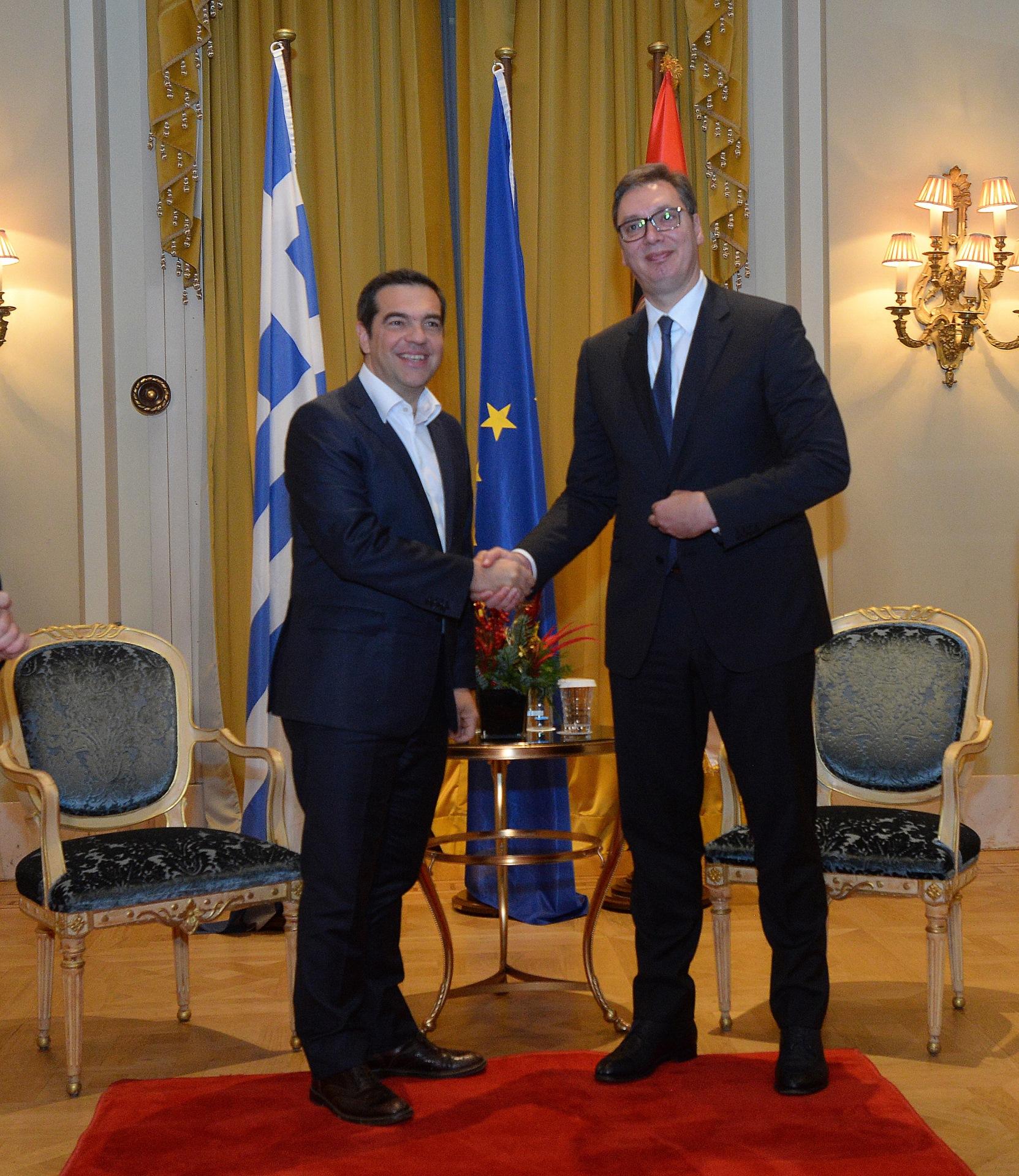 Vucic sastao se danas posle podne u Atini sa predsednikom Koalicije radikalne levice (SIRIZA) i bivsim grckim premijerom Aleksisom Ciprasom