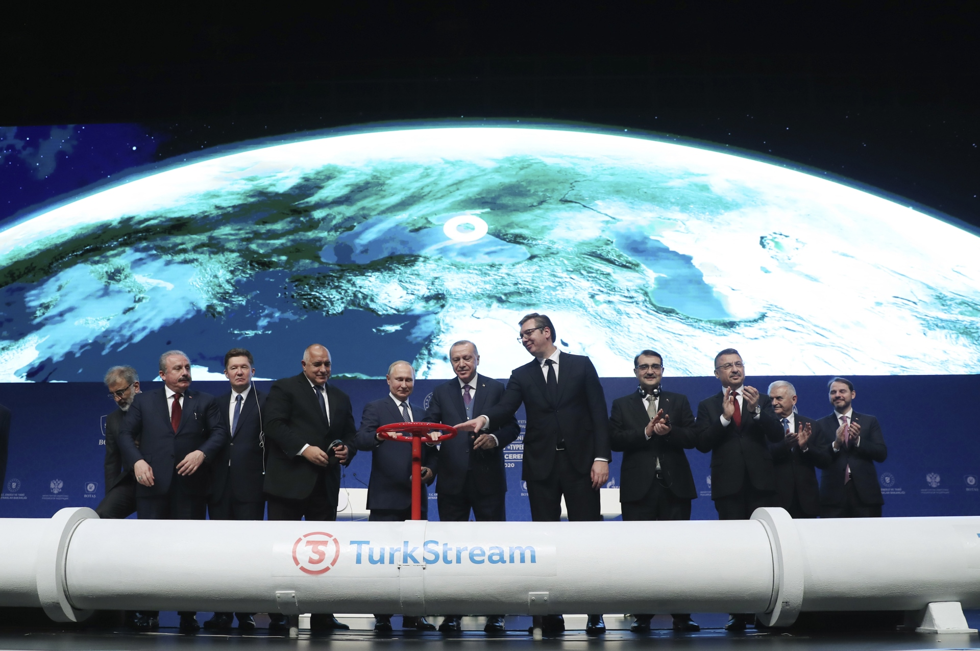 """Vučić, Erdogan, Putin i Borisov na svečanosti povodom puštanja u rad deonice gasovoda """"Turski tok"""" u Istanbulu"""