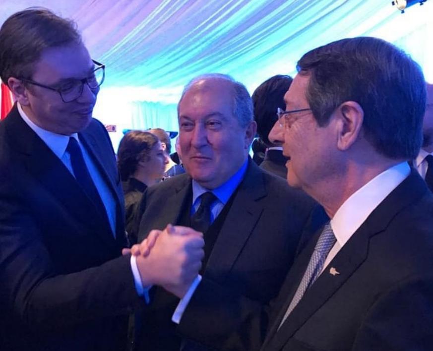 Vucic na veceri sa predsednikom Jermenije Armenom Sarkisijanom i predsednikom Kipra Nikosom Anastasijadesom