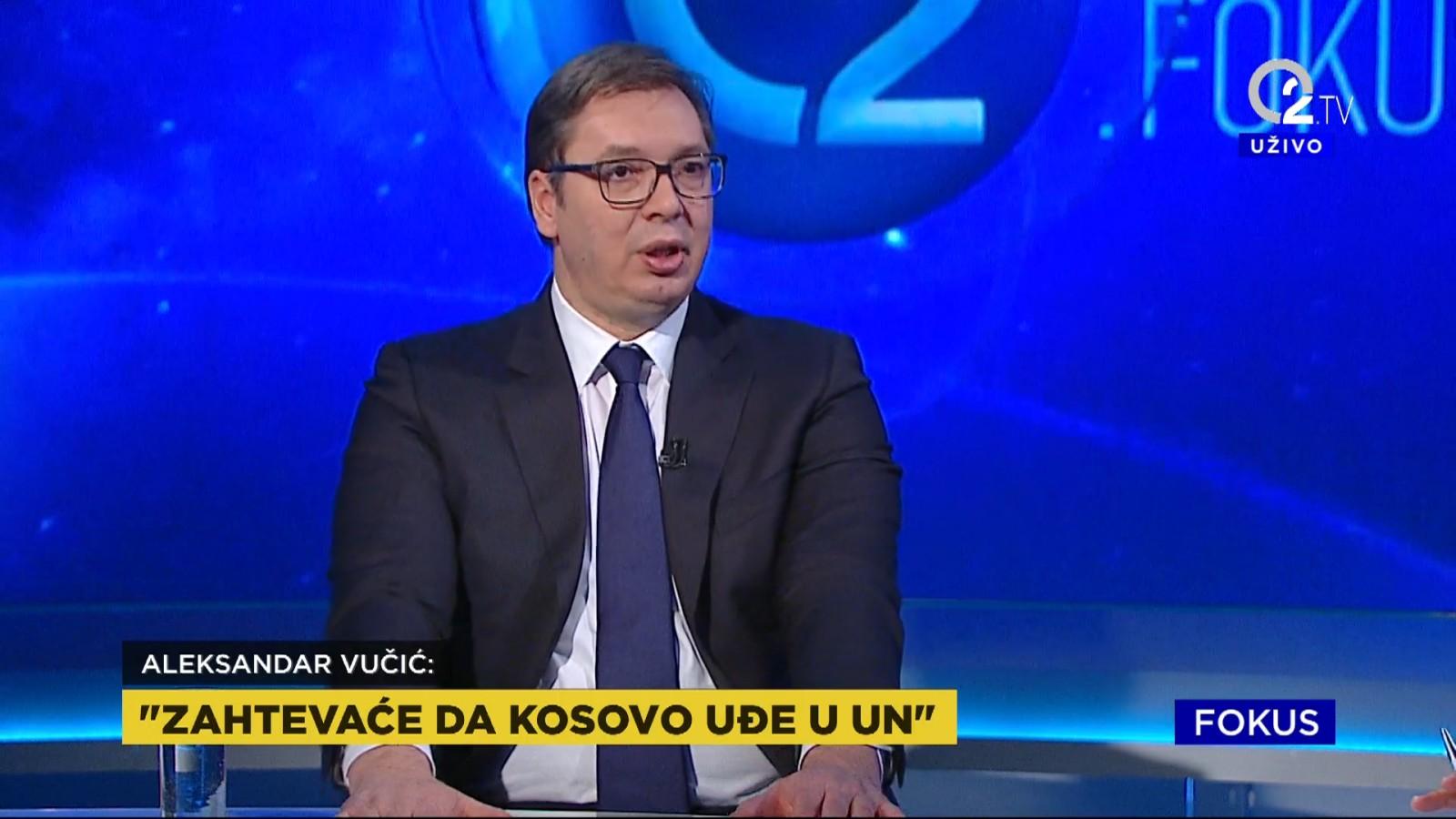 Predsednik Aleksandar Vucic o zahtevima da tzv. Kosovo udje u UN.