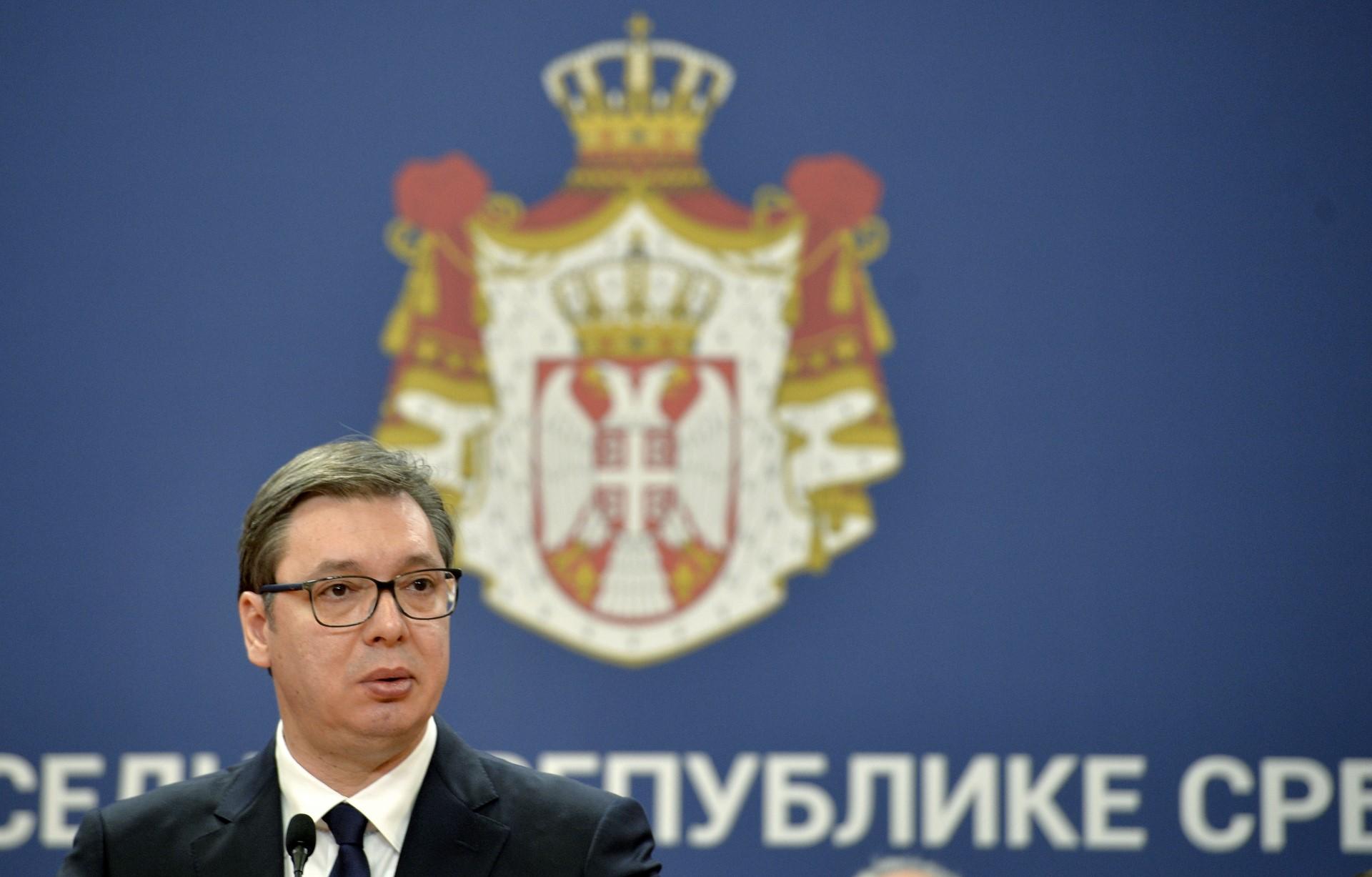 Predsednik Srbije Aleksandar Vucic objavio je vanredno stanje u Palati Srbija.