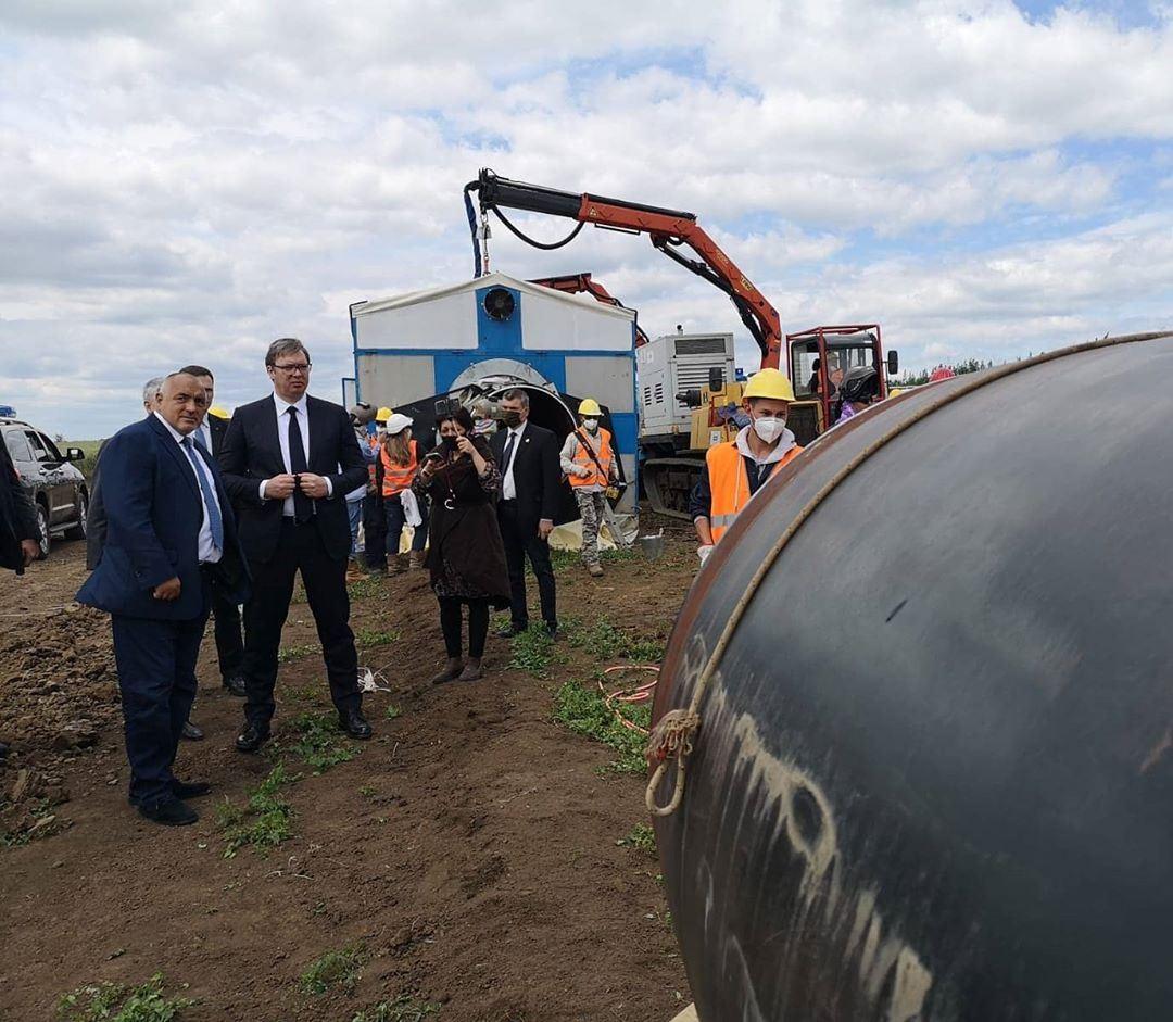 Predsednik Srbije Aleksandar Vucic i predsednik vlade Bugarske Bojko Borisov obisli su danas u Bugarskoj radove na izgradnji gasovoda Balkanski tok.1