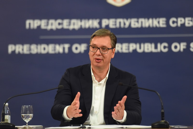 Beograd, 8. jula 2020 - Predsednik Srbije Aleksandar Vucic obraca se naciji.