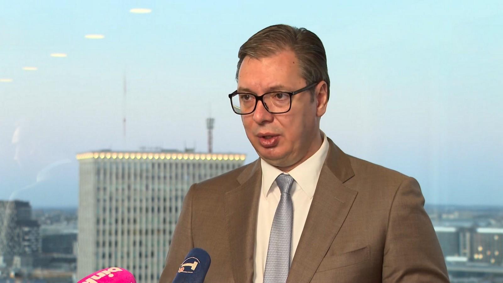 Predsednik Srbije Aleksandar Vučić u Briselu nakon sastanka sa specijalnim izaslanikom EU za dijalog Beograda i Prištine Miroslavom Lajcakom.