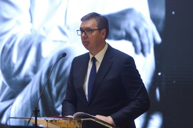 Председник Србије Александар Вучић на церемонији поводом смрти Дуде Ивковића.