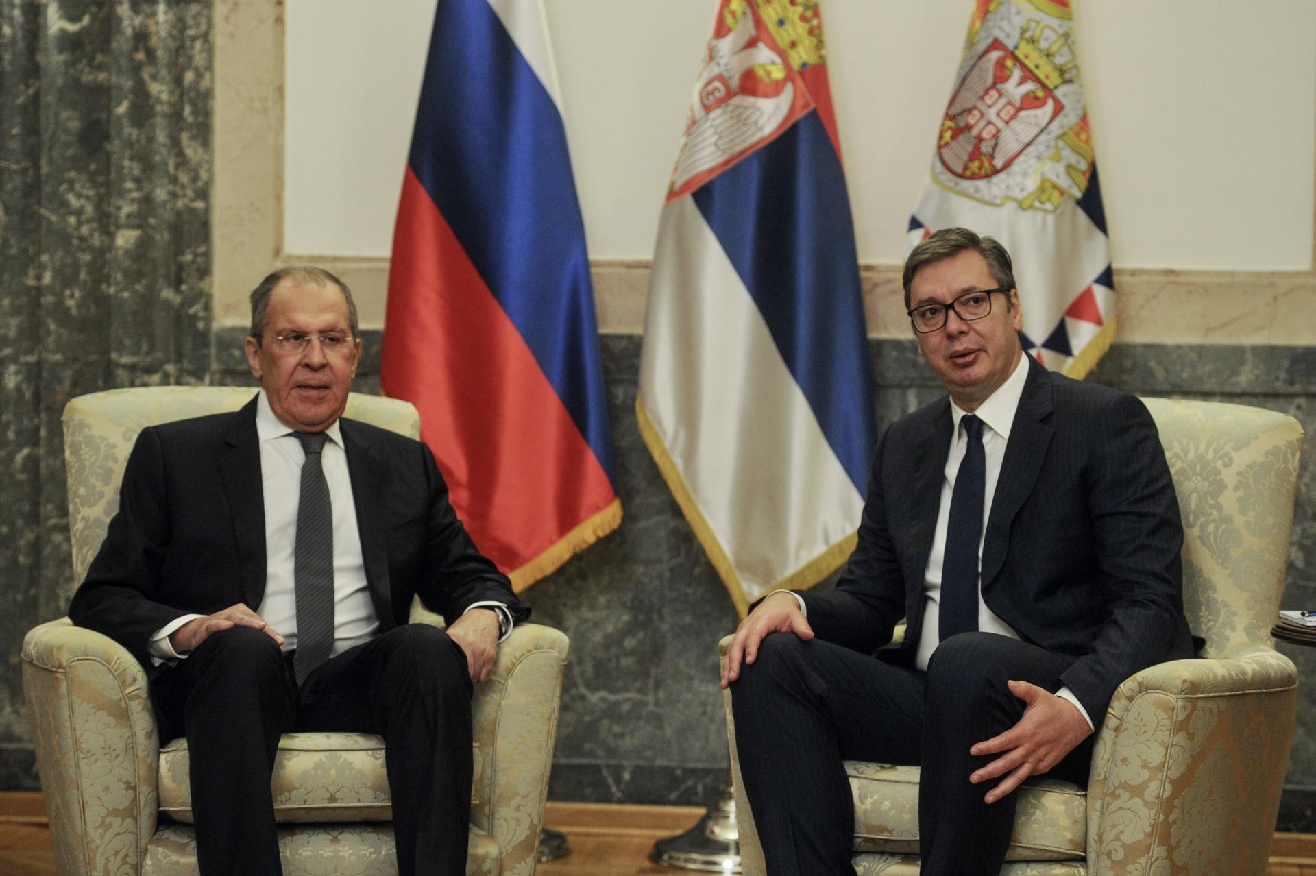 Predsednik Srbije Aleksandar Vucic i ministar spoljnih poslova Ruske Federacije Srgej Lavrov.