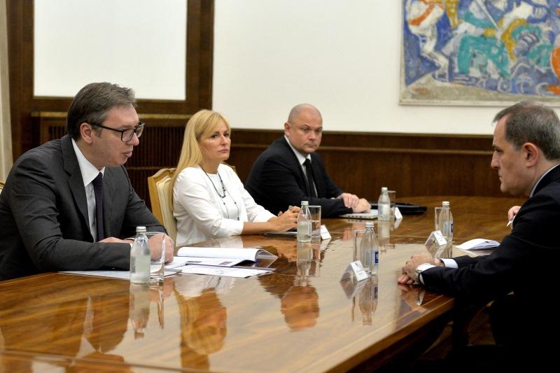 Председник Републике Србије Александар Вучић примио је данас министра спољних послова Републике Азербејџан Џејхуна Бајрамова.