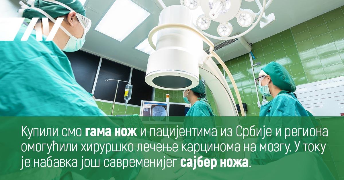 Купили смо гама нож и пацијентима из Србије и региона омогућили хируршко лечење карцинома на мозгу.